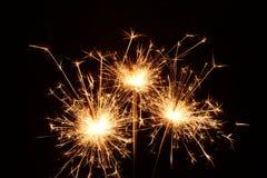 3 горящих бенгальского огня рождества Стоковое Фото