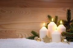 4 горящих свечи пришествия Стоковое Изображение RF