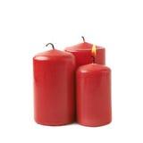 3 горя красных изолированной свечи Стоковое Изображение RF