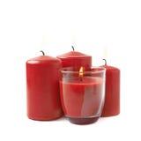 4 горя красных изолированной свечи Стоковое Фото