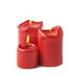 3 горя красных изолированной свечи Стоковые Изображения RF