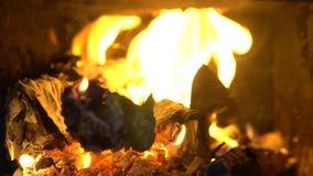 Горя огонь в камине зажим 4k камина с пламенами среднего размера сток-видео