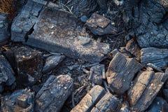 Горя швырок угля в камине или плите стоковая фотография rf
