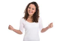 Гордая и счастливая девушка изолированная над белизной стоковые изображения