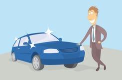 Гордый новый владелец автомобиля Стоковые Фотографии RF