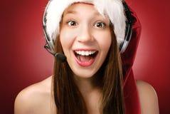 Госпожа Санта вызывая вас! стоковое изображение