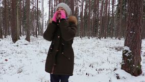 Госпож девушка в древесинах акции видеоматериалы