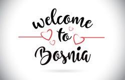 Гостеприимсво Боснии к тексту вектора сообщения с красными сердцами Illus влюбленности иллюстрация штока