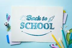Гостеприимсво искусства назад к знамени школы; Школьные принадлежности Tumblr Стоковая Фотография