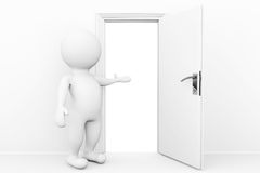 гостеприимсво персоны 3d и приглашает в открыть двери Стоковая Фотография RF