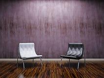 Гостиная с кожаными стулами Стоковые Фотографии RF
