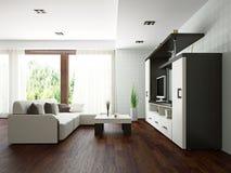 Гостиная с мебелью Стоковое Изображение