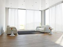 Гостиная с софами и ковром Стоковое Изображение