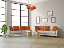 Гостиная с софами и таблицей Стоковые Изображения RF