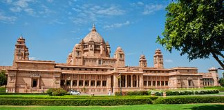Гостиница дворца Umaid Bhawan в Джодхпуре в Раджастхане, Индии Panora стоковые изображения