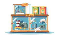 Гостиница для любимцев заполненных с собаками и кошками иллюстрация вектора