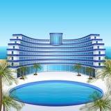Гостиница значка: остатки, море, солнце, пальмы иллюстрация вектора