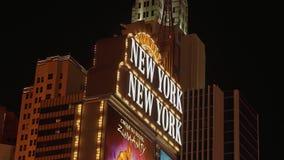 Гостиница и казино Нью-Йорка Нью-Йорка на ноче - США 2017 акции видеоматериалы