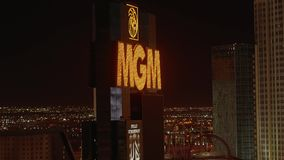 Гостиница Лас-Вегас MGM на ноче - США 2017 акции видеоматериалы