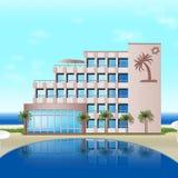 Гостиница на море с пальмами, горами иллюстрация штока
