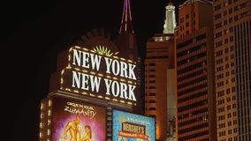 Гостиница Нью-Йорка Нью-Йорка в Лас-Вегас - расположенном на прокладке - США 2017 сток-видео