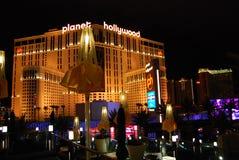 Гостиница Парижа и казино, Лас-Вегас, курорт Голливуда планеты и казино, Лас-Вегас, ноча, ориентир ориентир, метрополия, район ме стоковые фото