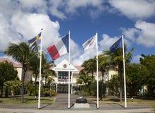 Гостиница de Ла Совместн, бывшяя ратуша на Сен-Бартельми, французских Вест-Индиях Стоковое Изображение RF