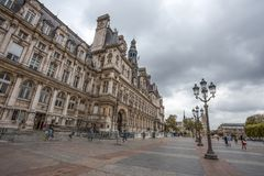 Гостиница de Ville, городская ратуша Парижа, Франции Это здание расквартировывает город администрации ` s Парижа стоковое изображение rf