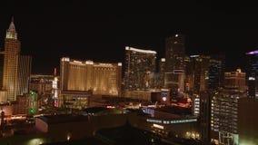 Гостиницы Лас-Вегас на ноче - красивом взгляде ночи на прокладке Лас-Вегас - США 2017 акции видеоматериалы