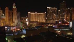 Гостиницы Лас-Вегас на ноче - красивом взгляде ночи на прокладке Лас-Вегас - США 2017 видеоматериал
