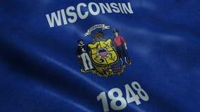 Государство анимации флага Висконсина безшовной закрепляя петлей развевая акции видеоматериалы