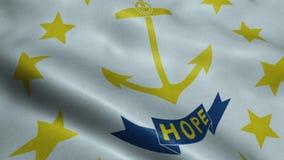 Государство анимации флага Род-Айленда безшовной закрепляя петлей развевая сток-видео