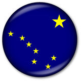 государство флага кнопки Аляски Стоковые Изображения