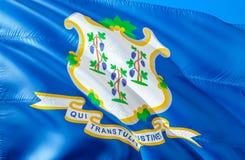 Государство флага Коннектикута развевая дизайн флага 3D Флаги штата США Коннектикута и Hartford, перевода 3D Герб страны  стоковое изображение