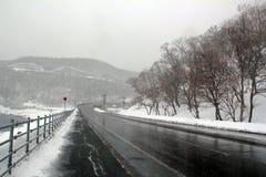 Государственная автострада в Shiretoko Хоккаидо, Японии Стоковые Фото