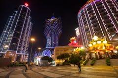 Государственный банк Китая и казино грандиозный Лиссабон в Макао Стоковое Изображение
