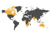 Государство-члены апельсина Британского Содружества Наций выделили в мире карту также вектор иллюстрации притяжки corel иллюстрация вектора
