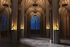 Готическая галерея собора на ноче Стоковая Фотография RF