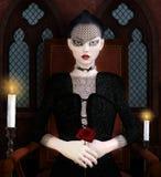Готическая девушка с бледной кожей и красными губами бесплатная иллюстрация