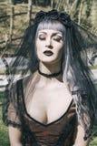 Готическая девушка с вуалью Стоковая Фотография