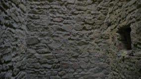 Готическая клетка подземелья башни замка с каменными стенами видеоматериал