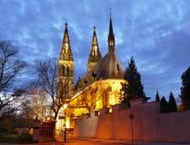 Готическая ноча Прага базилики стоковые изображения rf