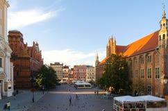 Готический город, старая городская площадь в Торуне, Польша Стоковые Фото