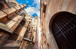 Готический квартал в Барселоне Каталония, Испания средневеково стоковые изображения rf