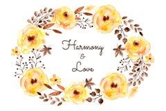 Готовая красивая карточка желтых цветков и листьев иллюстрация вектора