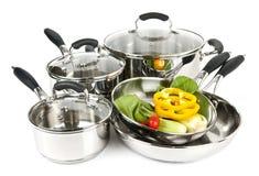 готовит овощи нержавеющей стали баков Стоковые Фото