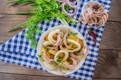 Готовые свежие кольца кальмара и щупальца осьминога с потушенными картошками зеленеют в деревенском Взгляд сверху Конец-вверх Стоковая Фотография RF