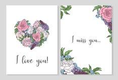 Готовый дизайн дизайна открытки я тебя люблю, я скучаю по вам, до свидания и здравствуйте! Открытки с розами и пионами иллюстрация штока