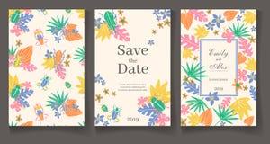 Готовый шаблон карты свадьбы Красивые троповые заводы и ошибки V иллюстрация штока