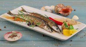 Готов-к-съешьте морепродукты на белой плите на голубом деревянном столе Стоковая Фотография